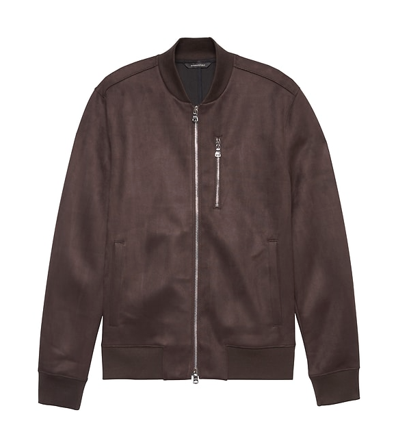 Faux Suede Mens Bomber